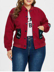 Plus Size Plaid Elbow Patch Jacket -