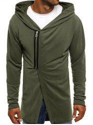 Casual Half Zip Design Asymmetry Hoodie -