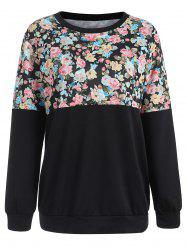 Floral Print Color Block Sweatshirt -