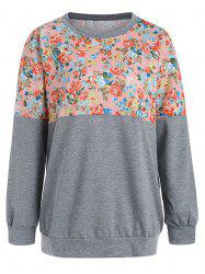 Sweat-shirt Floral Imprimé en Blocs de Couleurs -