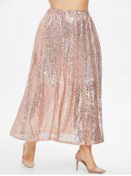 Plus Size Sequins Maxi Skirt -