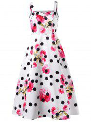 Polka Dot Floral Print Sleeveless Dress -