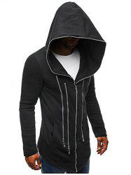 Solid Color Zippered Hooded Jacket -