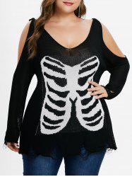 Plus Size Cold Shoulder Distressed Sweater -