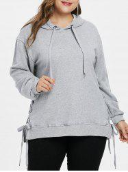 Plus Size Side Lace Up Hoodie -