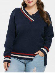 Plus Size Asymmetric V Neck Sweater -