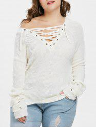 Plunge Lace Up Plus Size Pullover Sweater -