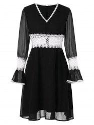 Contrast Lace Chiffon High Waist Dress -