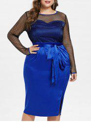Plus Size Side Slit Fishnet Knee Length Dress -