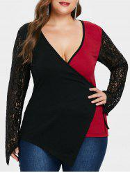 Plus Size Lace Color Block Wrap Top -