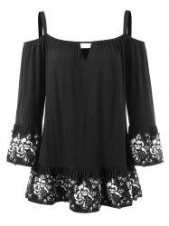 Cochet Floral Trim Cold Shoulder Blouse -