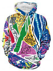 Various Figures Printed Kanga Pocket Hoodie -