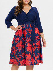 Surplice Neck Plus Size Printed Dress with Belt -