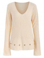 Grommets Embellished Deep V Neck Sweater -
