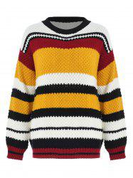 Chandail Pull-over en Tricot en Blocs de Couleurs -