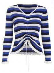 Flounced Drawstring Front Sweater -