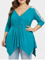 Plus Size V Neck Handkerchief T-shirt -