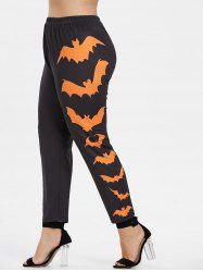 Side Bat Pattern Plus Size Elastic Waist Halloween Leggings -