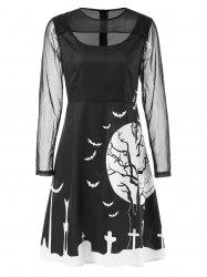 Mesh Sleeve Halloween Print Dress -