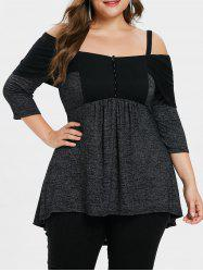 Plus Size Half Button Up High Low T-shirt -