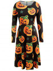 Halloween Pumpkin Print Long Sleeve Dress -