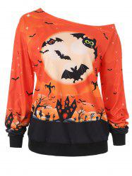 Halloween Night Print Skew Neck Sweatshirt -