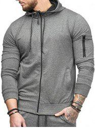 Casual Pockets Zip Up Sports Hoodie -