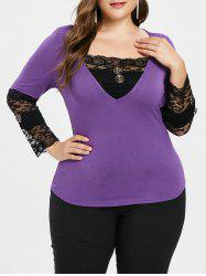 Plus Size Button Embellished Lace Trim T-shirt -