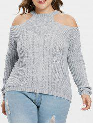 Open Shoulder Plus Size Chunky Sweater -