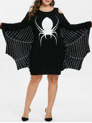 Plus Size Halloween Spider Print Cold Shoulder Dress -