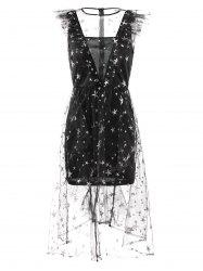 Stars Embroidery Sleeveless Lace Dress -