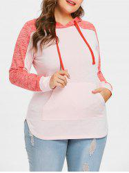 Plus Size Color Block Drawstring Hoodie -