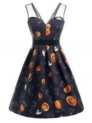 Halloween Pumpkin Print Sleeveless Flare Dress -