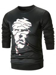 Abstract Face Pattern Pullover Sweatshirt -