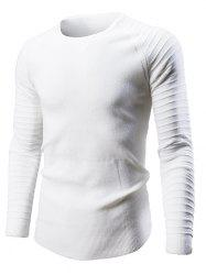Pleated Sleeve Round Neck Sweater -