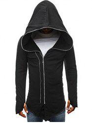 Zip Up Solid Color Asymmetry Hooded Jacket -