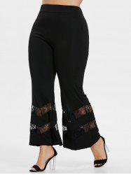 Plus Size Lace Panel Flare Pants -