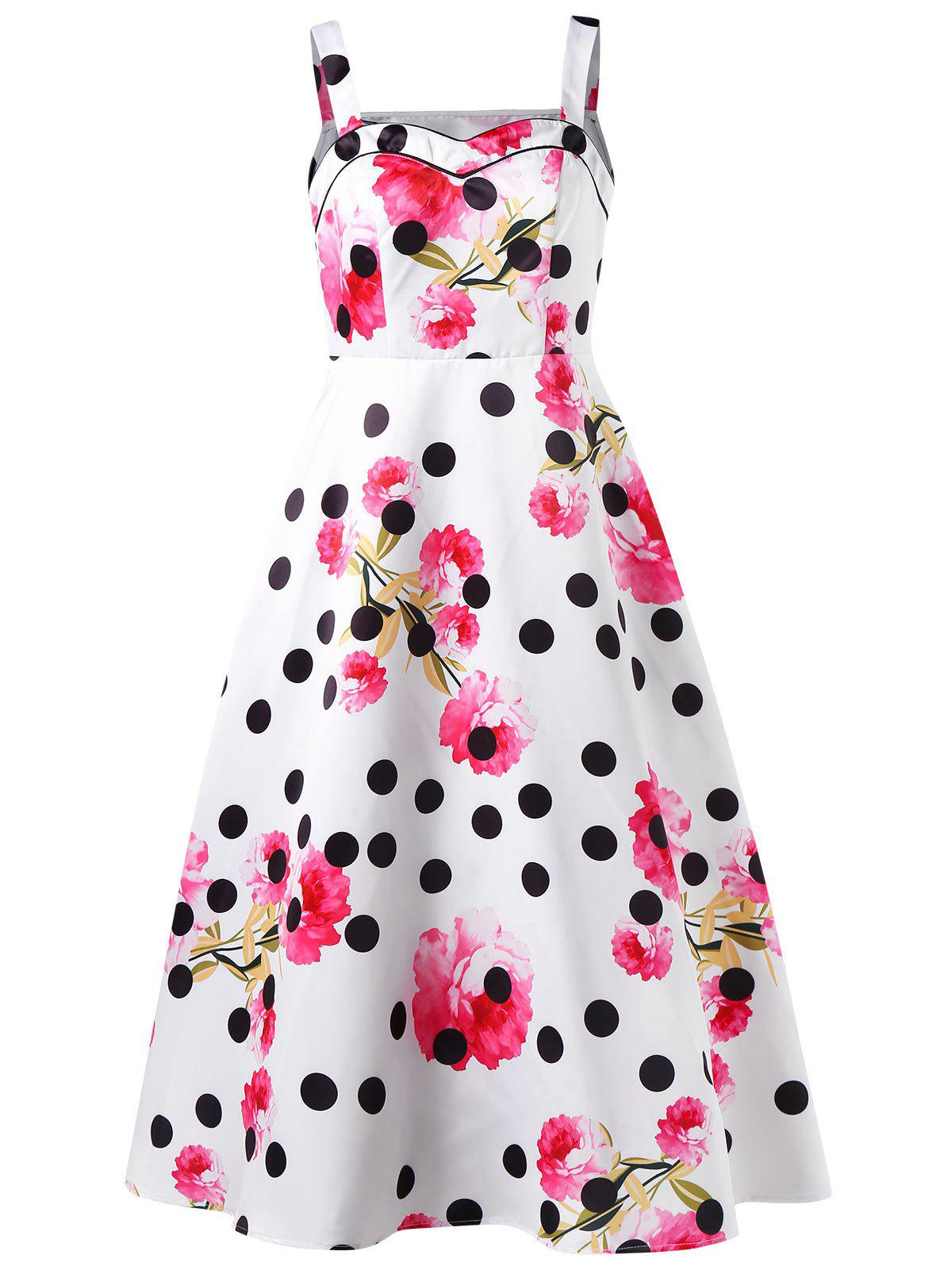 Cheap Polka Dot Floral Print Sleeveless Dress