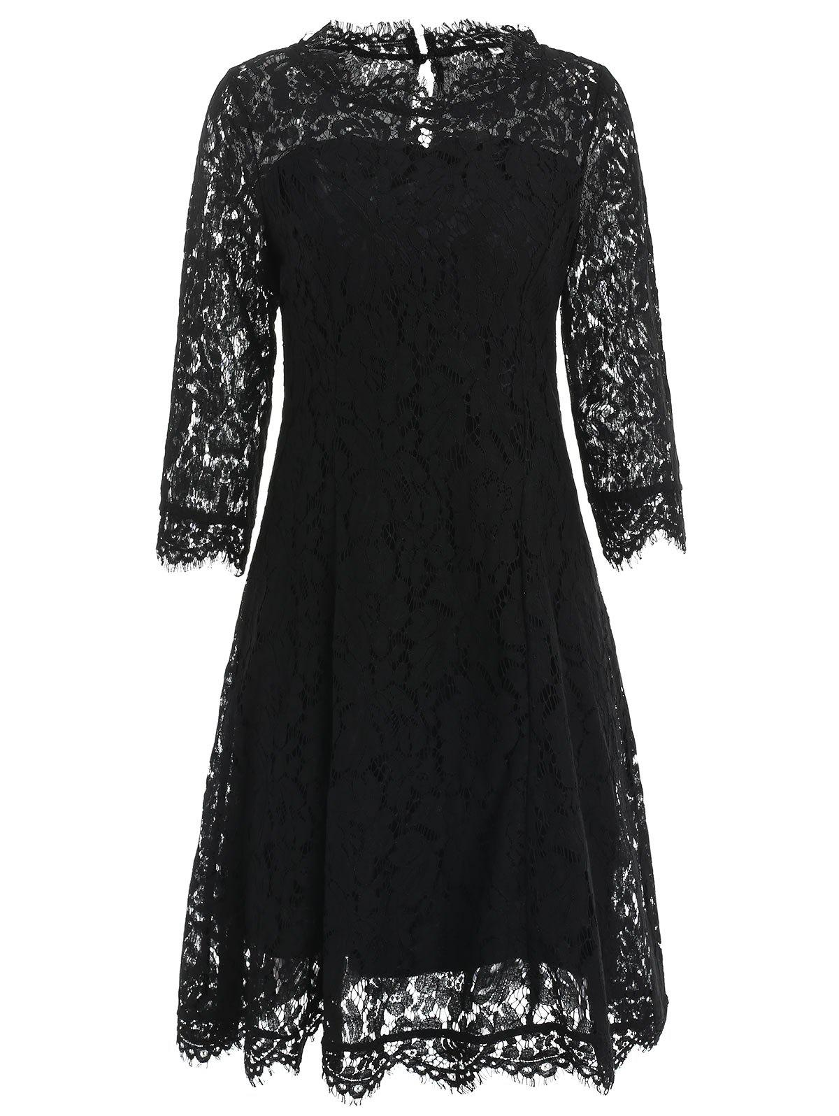 Chic Floral Lace Party Dress