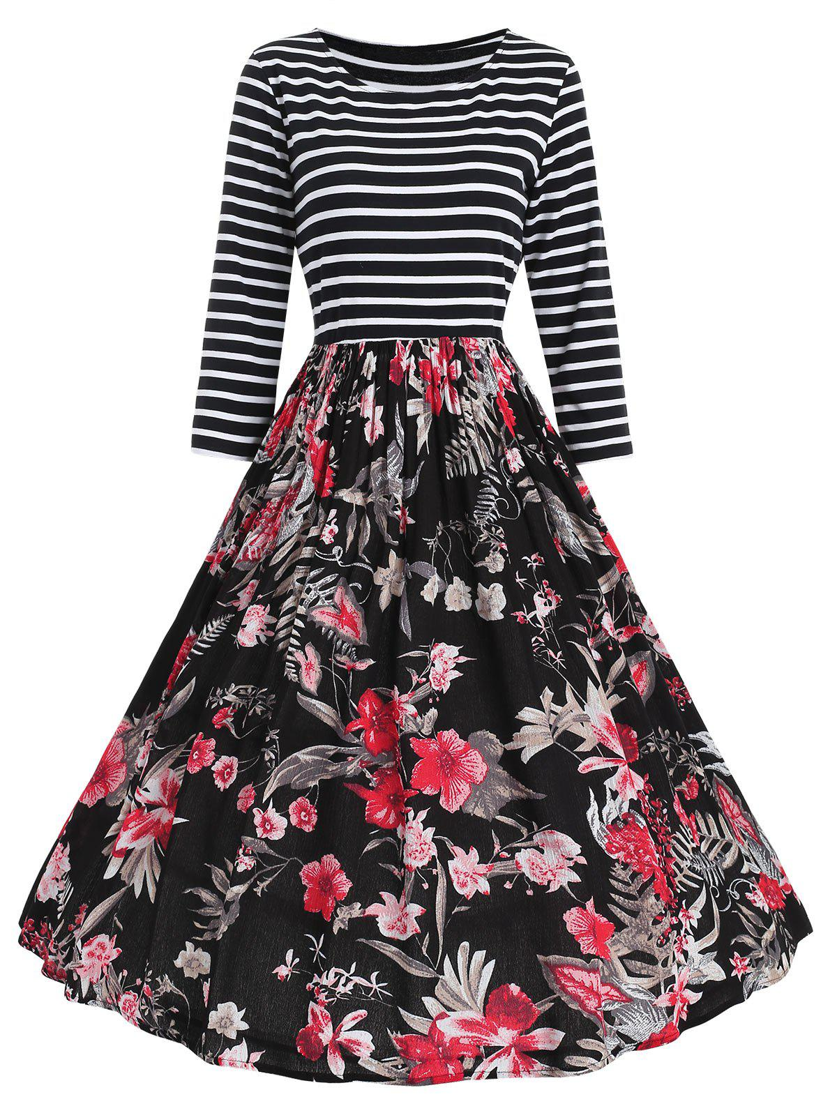 Shops Stripe Floral Print Fit And Flare Dress