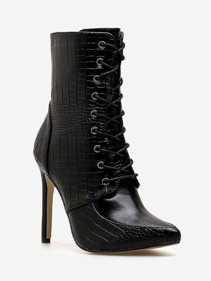 New Crocodile Print Lace Up Ankle Boots