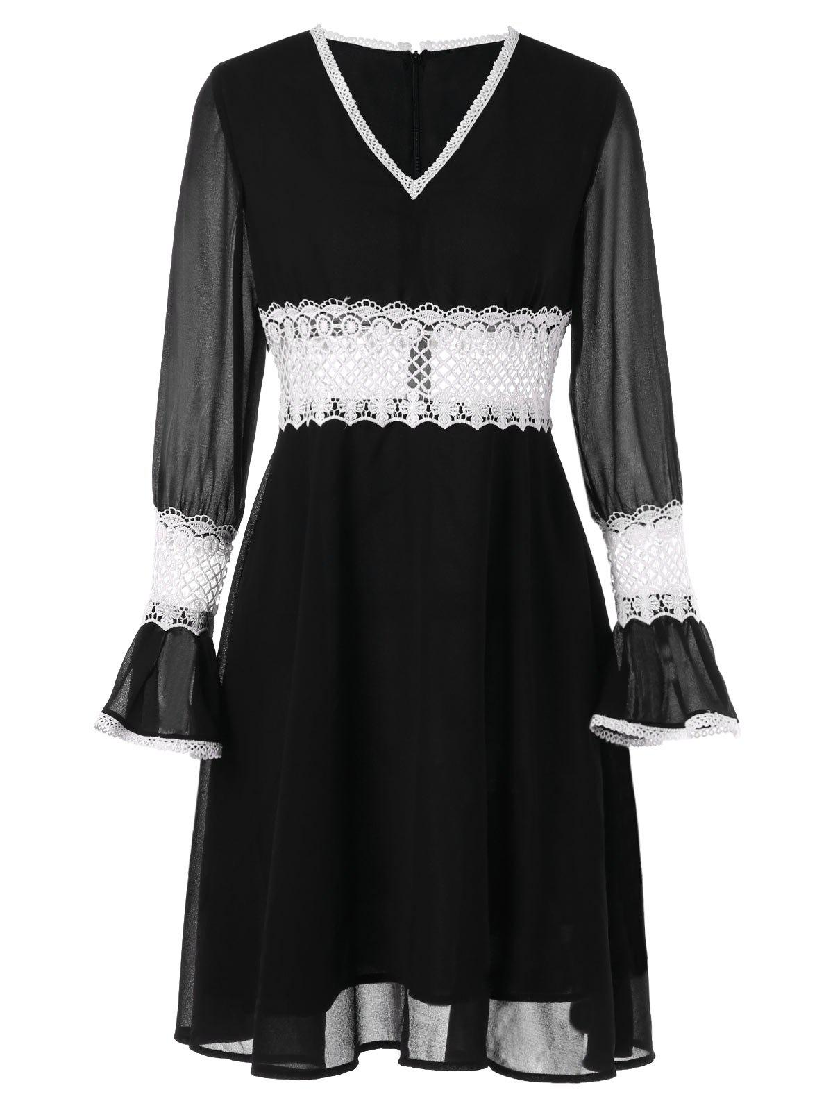 Sale Contrast Lace Chiffon High Waist Dress
