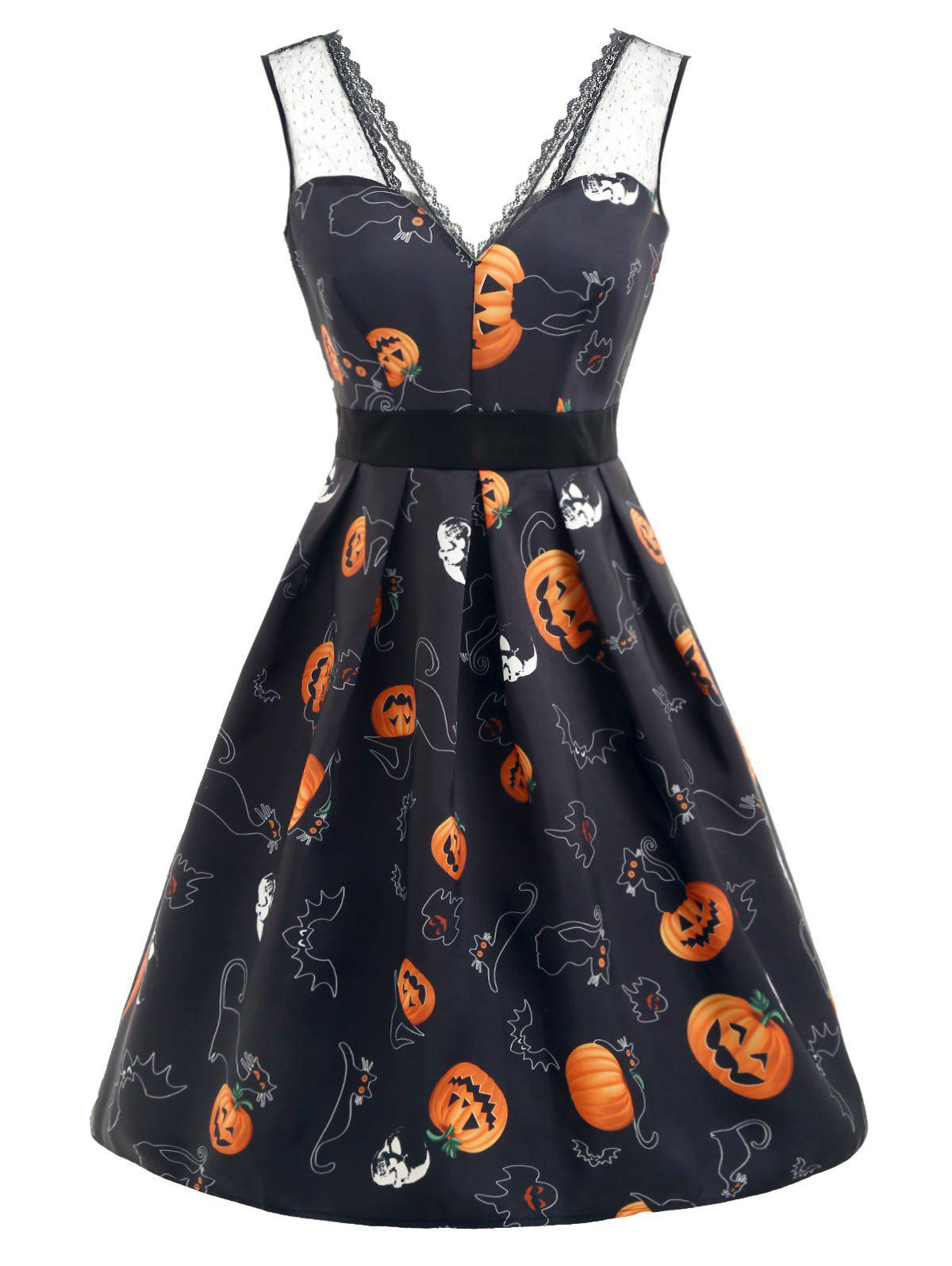 Shop Halloween Pumpkin Print Sleeveless Flare Dress