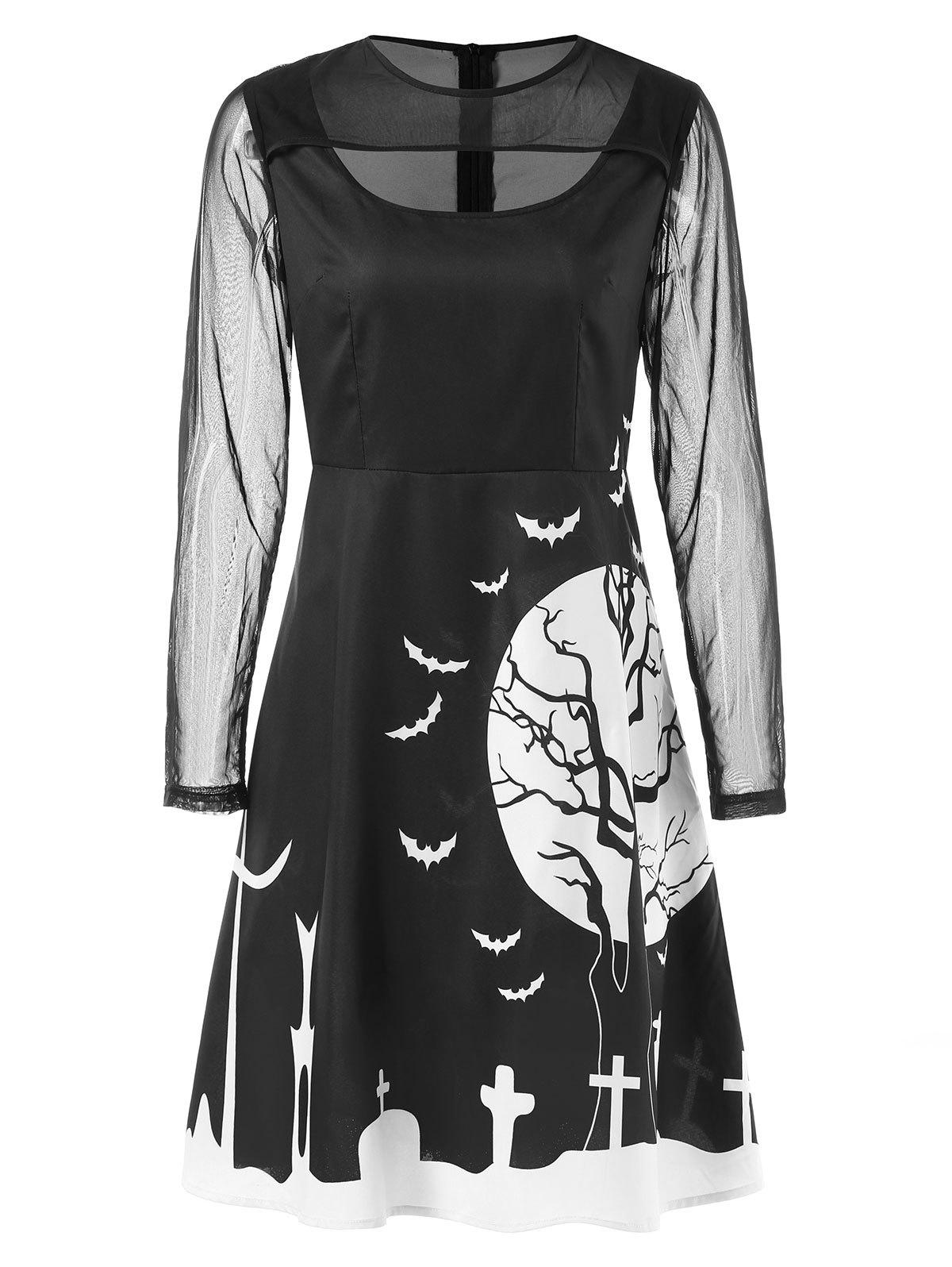Shop Mesh Sleeve Halloween Print Dress