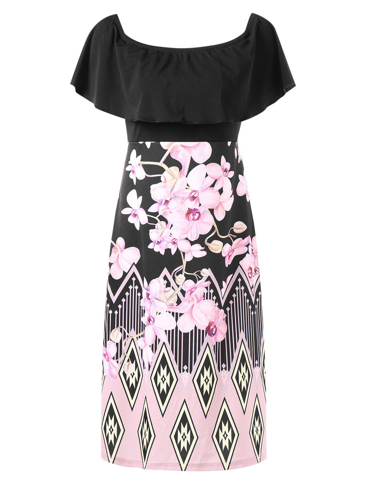 Fancy Floral Print Flounce Trim Knee Length Dress