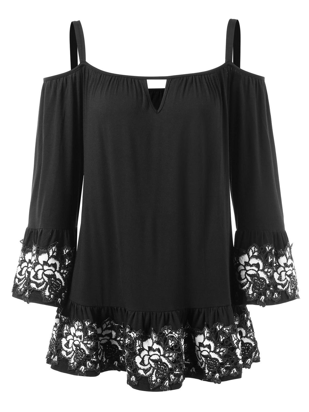 Fancy Cochet Floral Trim Cold Shoulder Blouse