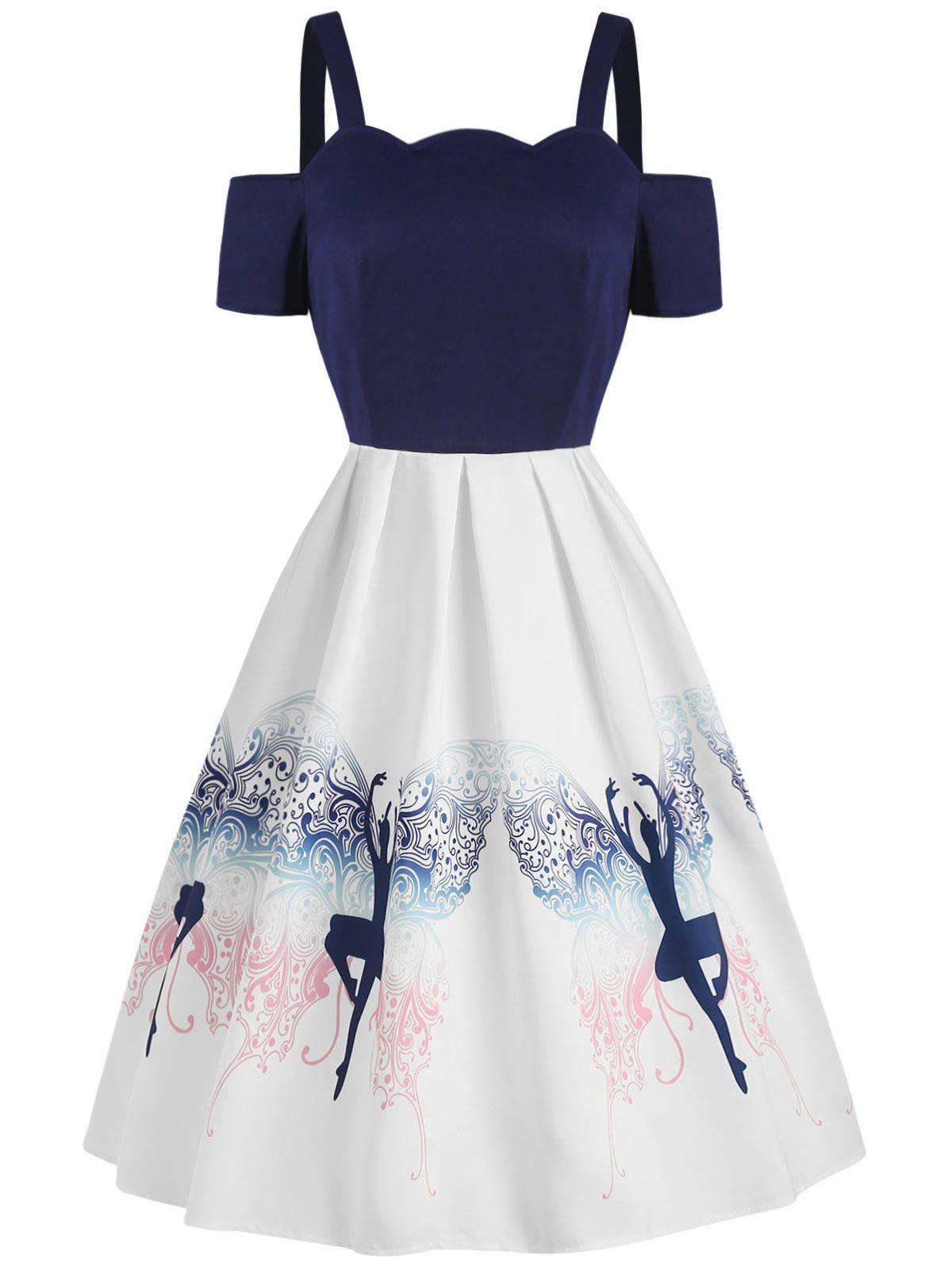 Chic Dancing Girl Print Fit and Flare Dress