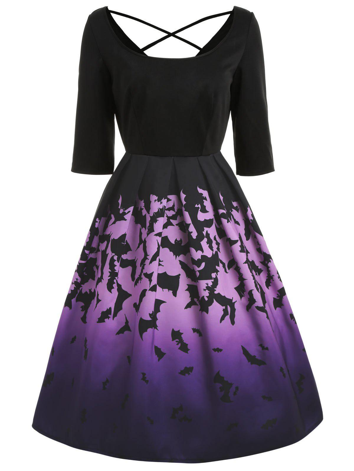 Discount Bats Print Square Collar Halloween Dress