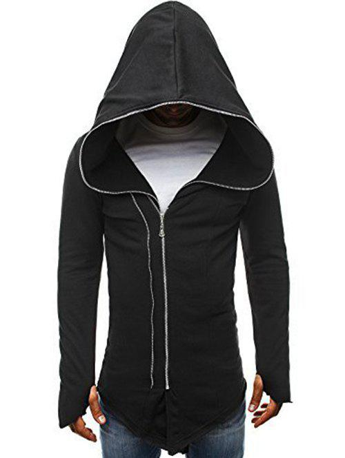 Outfit Zip Up Solid Color Asymmetry Hooded Jacket