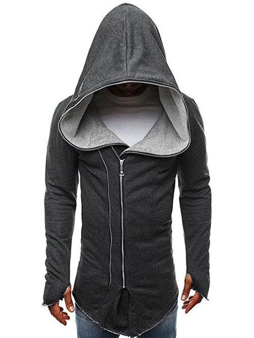 Store Zip Up Solid Color Asymmetry Hooded Jacket